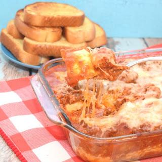 Cheesy Meatball Ravioli Lasagna.