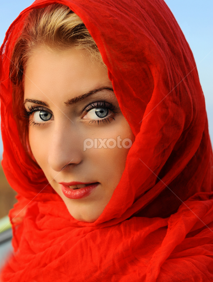 red&blue by Stancioiu Alina - People Portraits of Women ( girl, red, blue, woman, portrait,  )