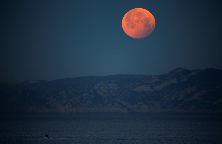 The 'super blood wolf moon' during a total lunar eclipse in Marseille, France.