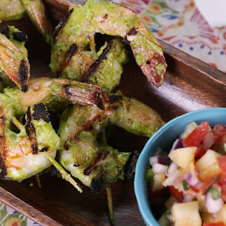 Green Dragon Shrimp Skewers with Grilled Pineapple Pico de Gallo