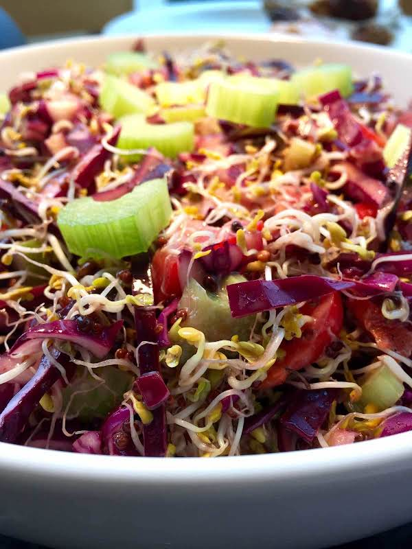 Broccoli Sprouts And Red Cabbage Salad Recipe