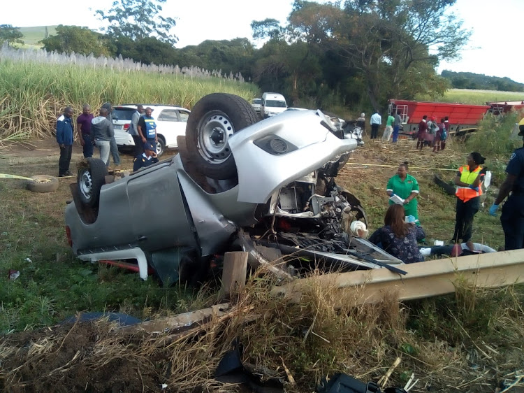 The Toyota Hilux bakkie was transporting school children when it overturned.