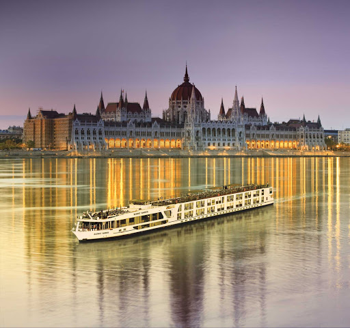 Scenic Amber sailing the Danube in Budapest, Hungary.