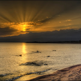 sunrise on Issyk-Kul by Petr Klingr - Landscapes Sunsets & Sunrises ( waves, hdri, kyrgyzstan, clouds, lake,  )