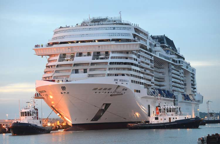 MSC Meraviglia in its final stages of construction.