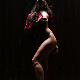 Light and Shadow by ObjeKtiva Artphoto - Nudes & Boudoir Boudoir ( glamour, body, sexy, nude, red, silhouette, art, dark, implied, lines, beauty, light, shadows, sensual )