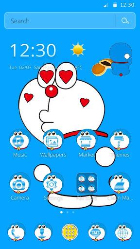 Download Kawaii Blue Cute Cat Cartoon Wallpaper Theme On Pc