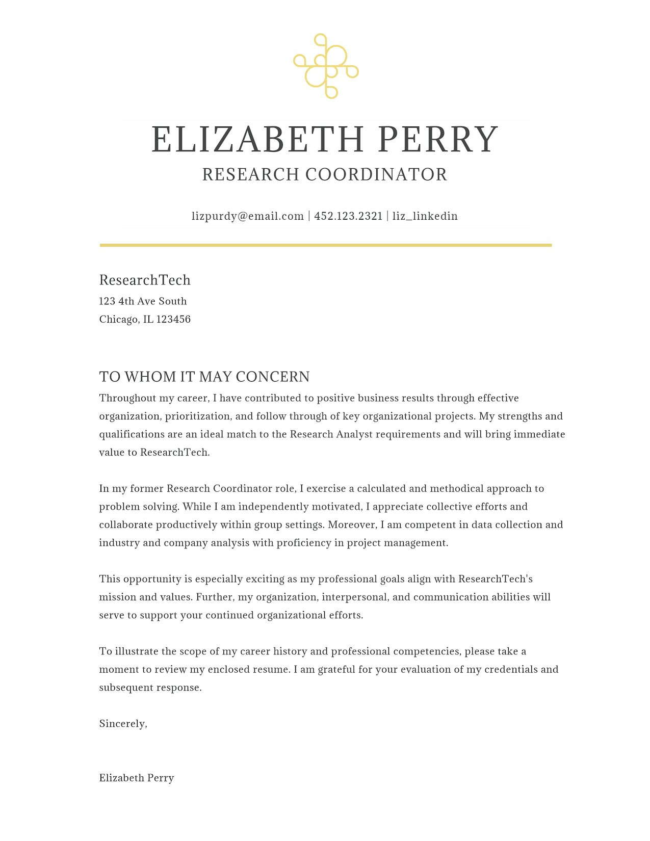 Elizabeth Perry - Cover Letter Template