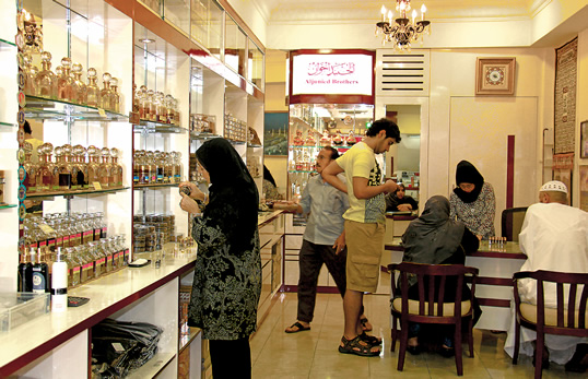 The Aljunied Brothers parfumerie on Arab Street is one of the few remaining Arab-owned stores in the Arab Quarter. Their shop also features batik clothing and accessories.