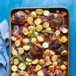 Baked Balsamic Chicken and Roasted Vegetables.