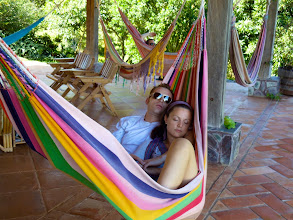 "Photo: Some guests taking an afternoon ""siesta"" in one of the many hammocks."