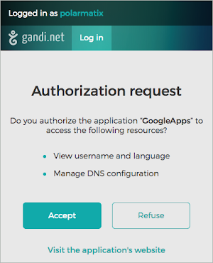 Authorization request window