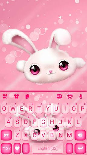 White Cute Bunny Keyboard Background screenshot 5
