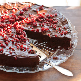 Flourless Chocolate Cake With Cranberries.