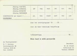 Photo: Bewijs van Lidmaatschap (binnenkant), voor contributiebetalingen