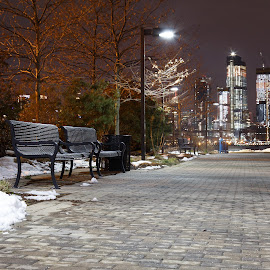 by Eugene O'Connor - City,  Street & Park  Night ( seat, snow, night, new jersey, dark, winter, hoboken, new york, park,  )