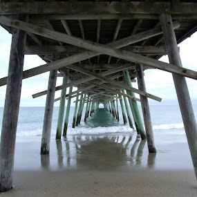 Below the Pier by Virginia Howerton - Buildings & Architecture Bridges & Suspended Structures ( reflection, nature, shadow, pier, beach,  )