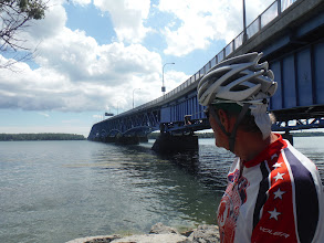Photo: In NY Jim looking at bridge we need to cross, to get to Grand Island and RV park