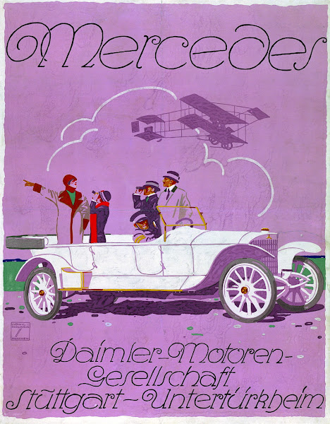 Photo: Ludwig Hohlwein, the most famous German poster artist, designed a poster for the 37/90 hp chain-driven car.