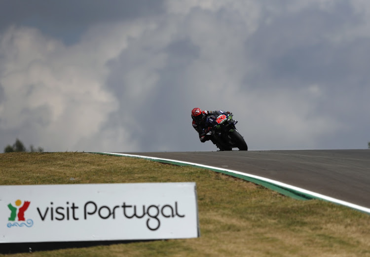 Yamaha's Fabio Quartararo in action during qualifying for the Portuguese Grand Prix at the Algarve International Circuit, in Portimao, Portugal, on April 17 2021.