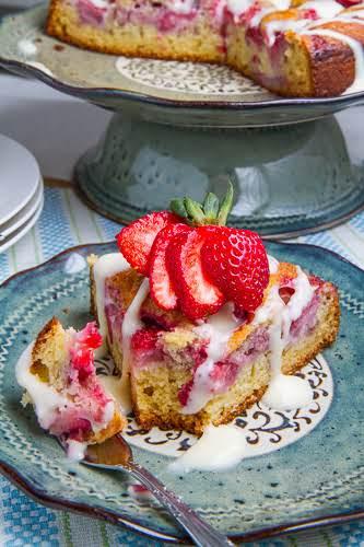 """Strawberries and Cream Coffee Cake with Vanilla Cream Cheese Glaze """"This strawberries..."""