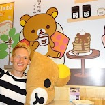getting comfy at the rilakkuma cafe in Taipei, T'ai-pei county, Taiwan