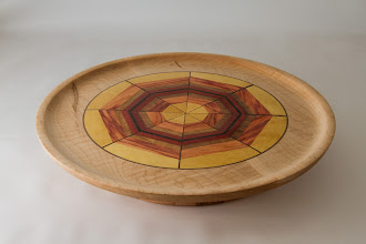 Photo: Richard Webster 14 1/2 x 2 1/2 lazy Susan Platter [maple, holly, canary, ebony, and blood wood]