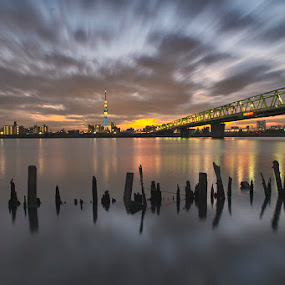 yesterday in arakawa by Kadek Lana - Landscapes Starscapes ( tokyo skytree, night, lights )