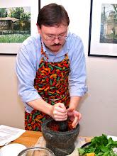 Photo: Jefferson pounding the chilli paste