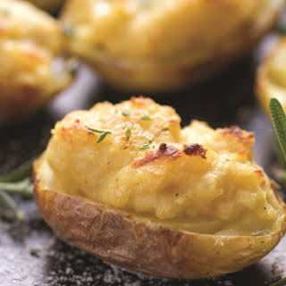 Twice Baked Hummus Potatoes with Rosemary.