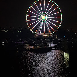 Ferris Wheel Love Affair  by Kathleen Michelle Corral - City,  Street & Park  Amusement Parks ( #ferriswheel #reflection #water #photography #night #nightphotography #colors,  )