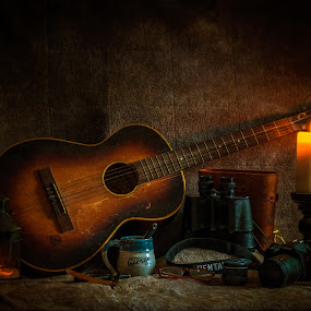 Never Forgoten by Mike Svach - Artistic Objects Musical Instruments ( old, still life, dark, guitar, father )