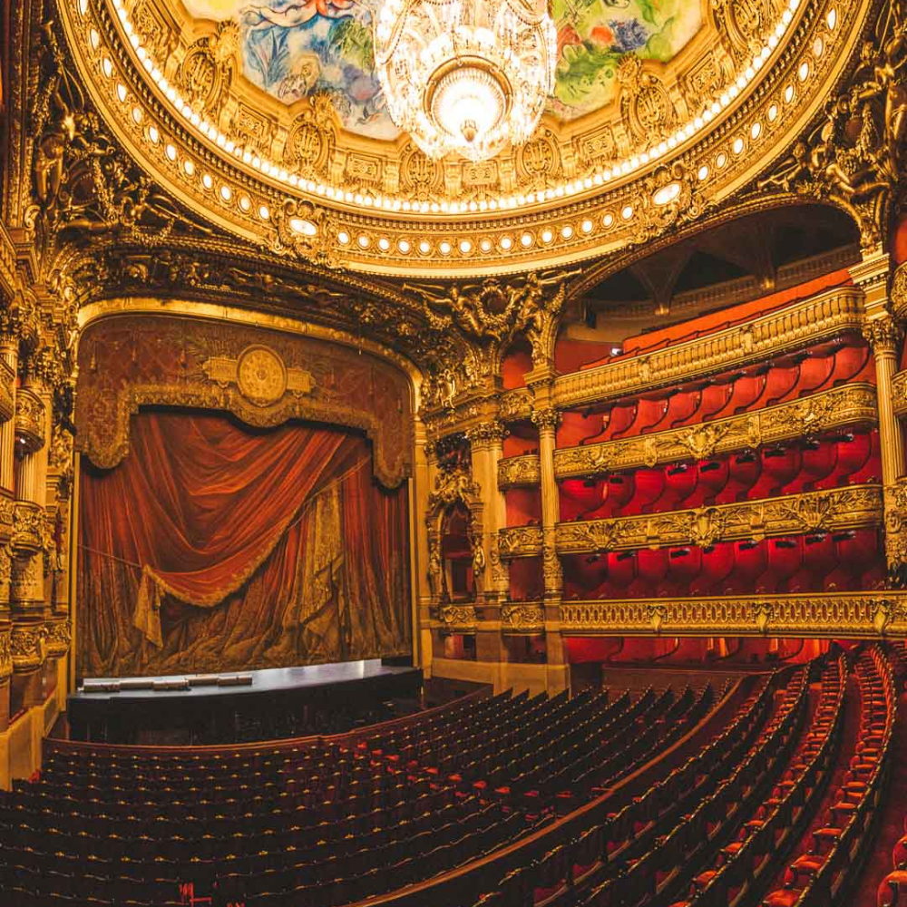 Paris night tours. The red seats in the Opera Garnier facing the center stage