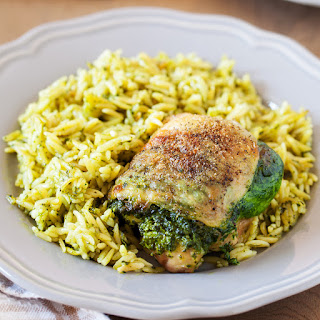 Creamy Spinach Stuffed Chicken with Orzo