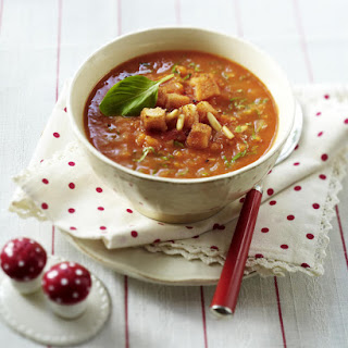 Tomato-Carrot Soup with Pine Nuts, Croutons and Basil