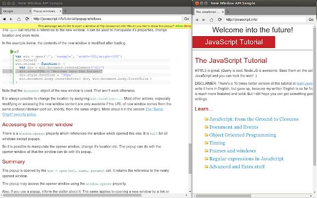 New Window API Sample