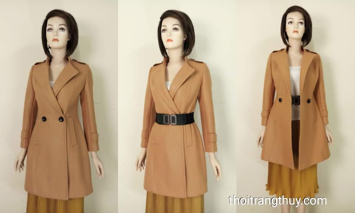 Áo khoác dạ nữ dáng dài cổ vest màu lạc đà V653 tại Hải Phòng