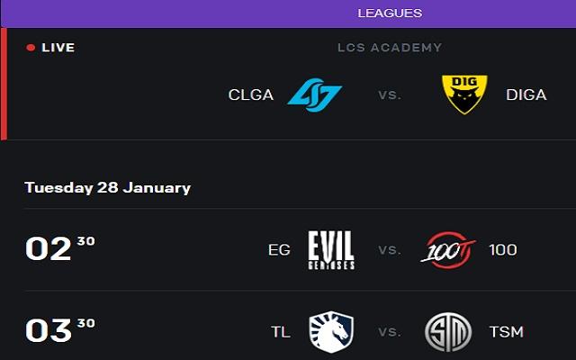 League of Legends (LoL) Event Schedule