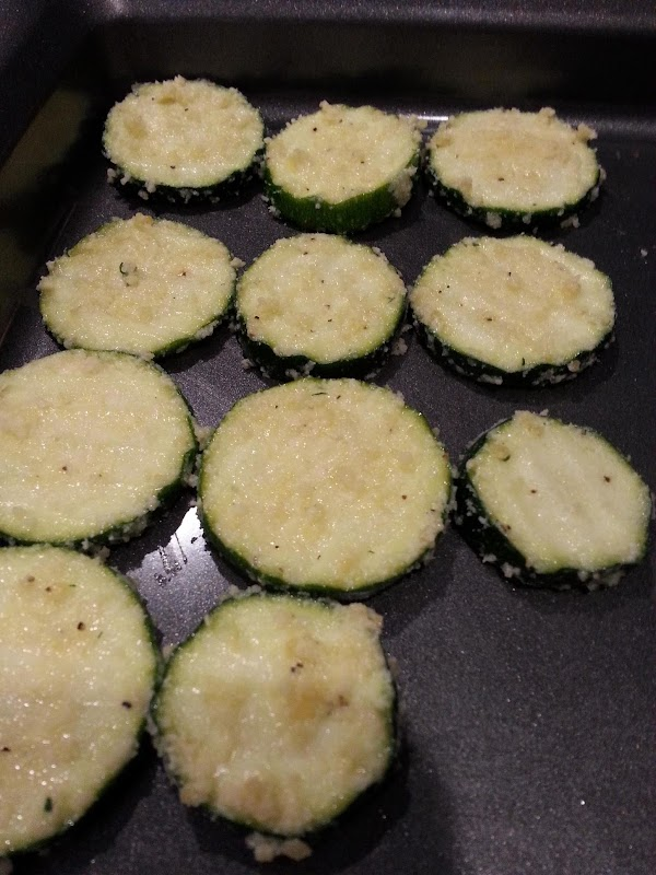 Place zucchini on nonstick baking sheet in a single layer
