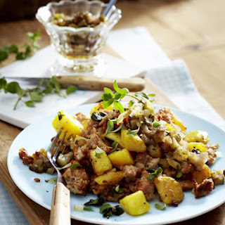 Pork and Potato Hash with Pickle Relish