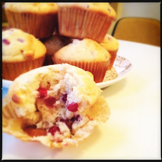 Pomegranate White Chocolate Muffins