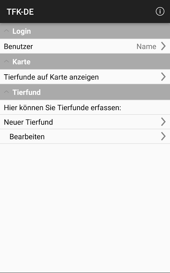 Tierfund-Kataster- screenshot