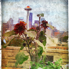 Seattle View by Anita Elder - Digital Art Places ( space needle, flowers, places, structures, seattle, digital art )