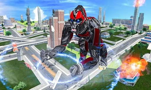 Futuristic Robot Transforming Gorilla Attack City 2