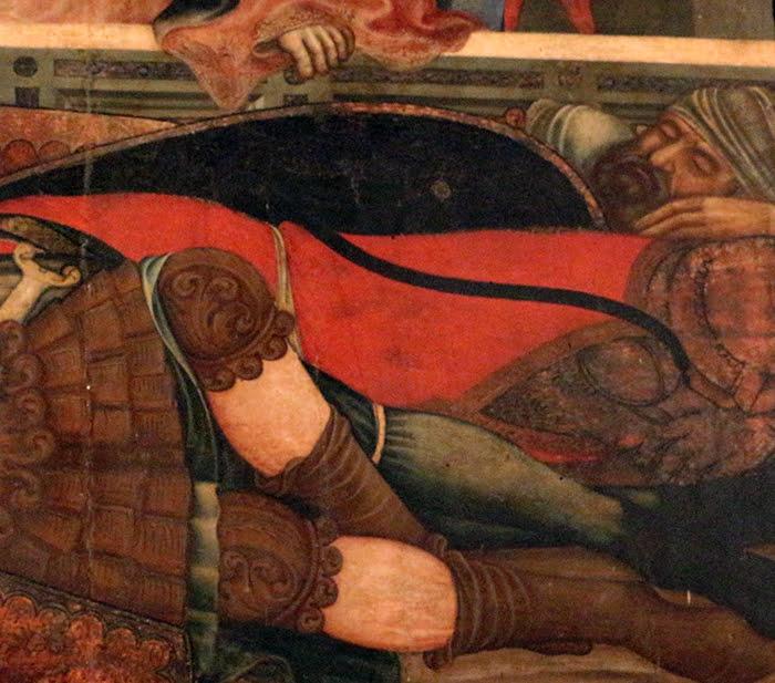 Niccolò di Segna, Polittico della Resurrezione, (particolare soldati addormentati davanti al sarcofago), 1348 circa, Duomo di Sansepolcro