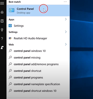 """Click on the """"Control Panel"""" option"""