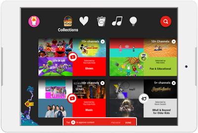 A tablet showing many different family-friendly videos on YouTube kids.