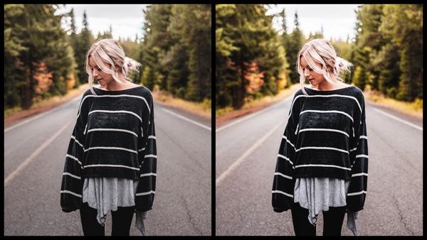Tutorial de edição de uma mulher posando no meio da estrada usando o filtro Morning do AirBrush