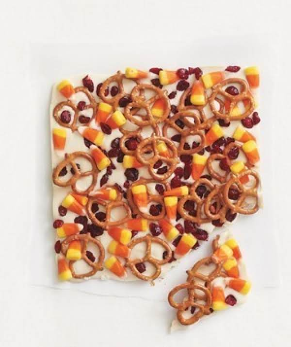 Candy Corn And Pretzel Bark!!! Recipe