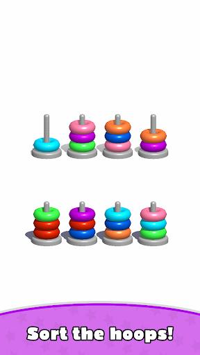 Sort Hoop Stack Color - 3D Color Sort Puzzle android2mod screenshots 1